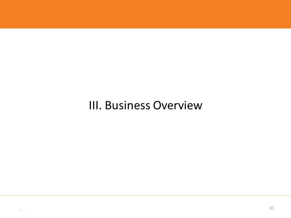 III. Business Overview