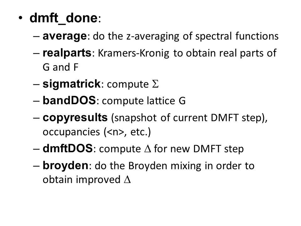 dmft_done: average: do the z-averaging of spectral functions