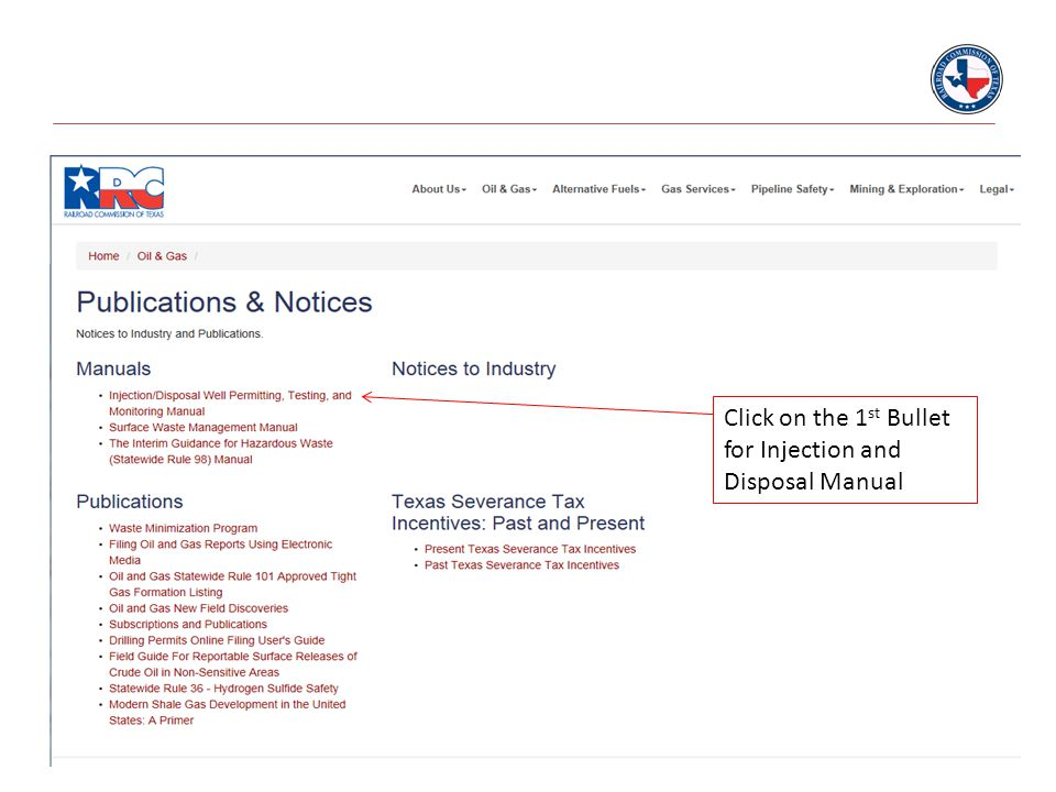 Click on the 1st Bullet for Injection and Disposal Manual