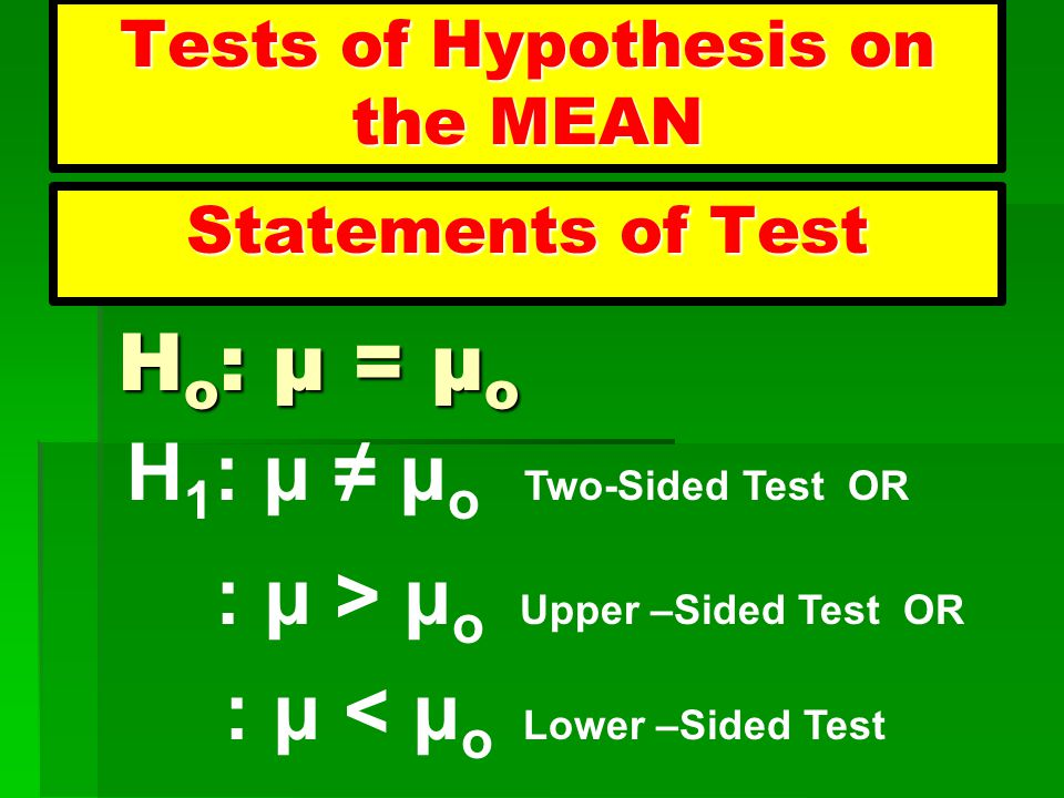 Tests of Hypothesis on the MEAN
