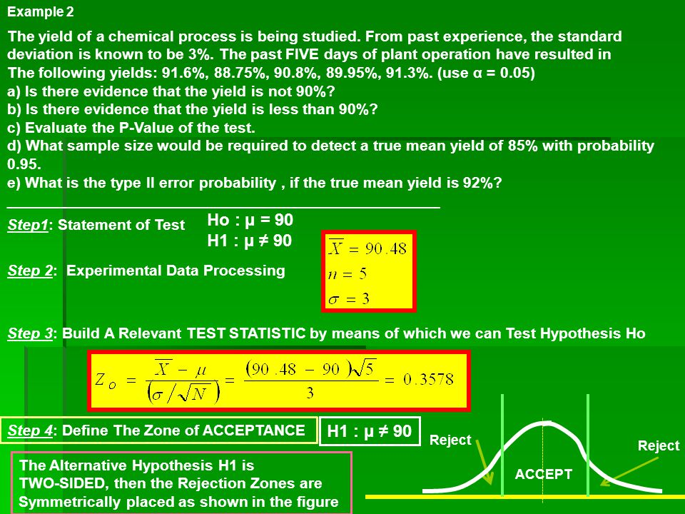 Example 2 The yield of a chemical process is being studied. From past experience, the standard.