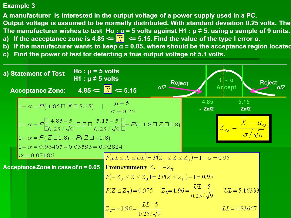 Example 3 A manufacturer is interested in the output voltage of a power supply used in a PC.