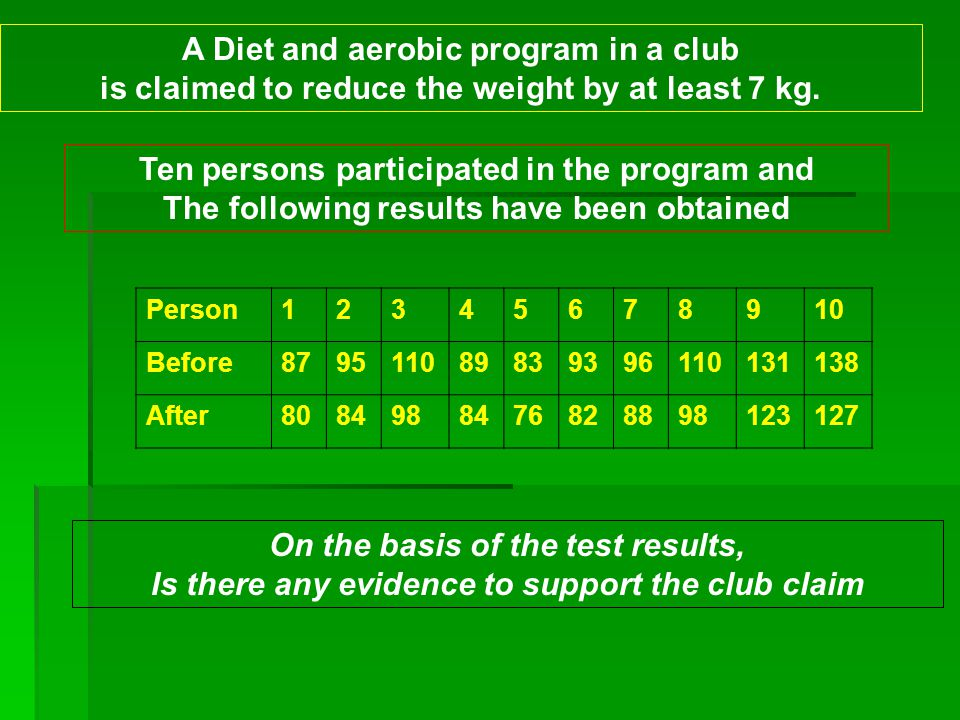 A Diet and aerobic program in a club