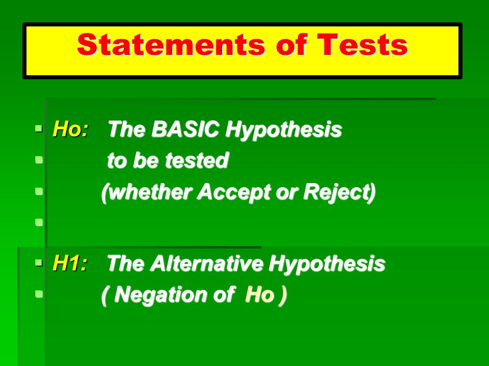 Statements of Tests Ho: The BASIC Hypothesis to be tested