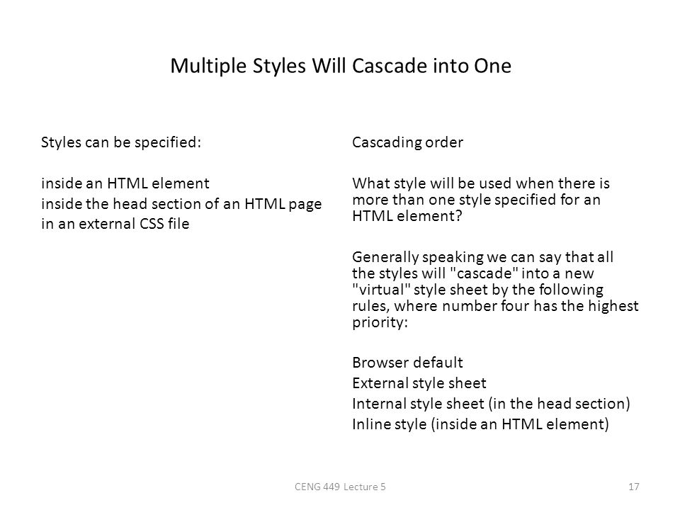 Multiple Styles Will Cascade into One