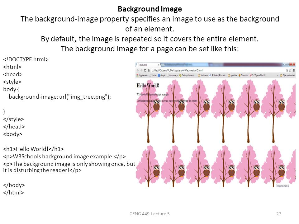Background Image The background-image property specifies an image to use as the background of an element. By default, the image is repeated so it covers the entire element. The background image for a page can be set like this: