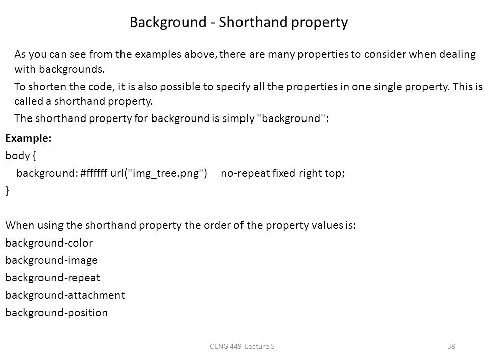 Background - Shorthand property