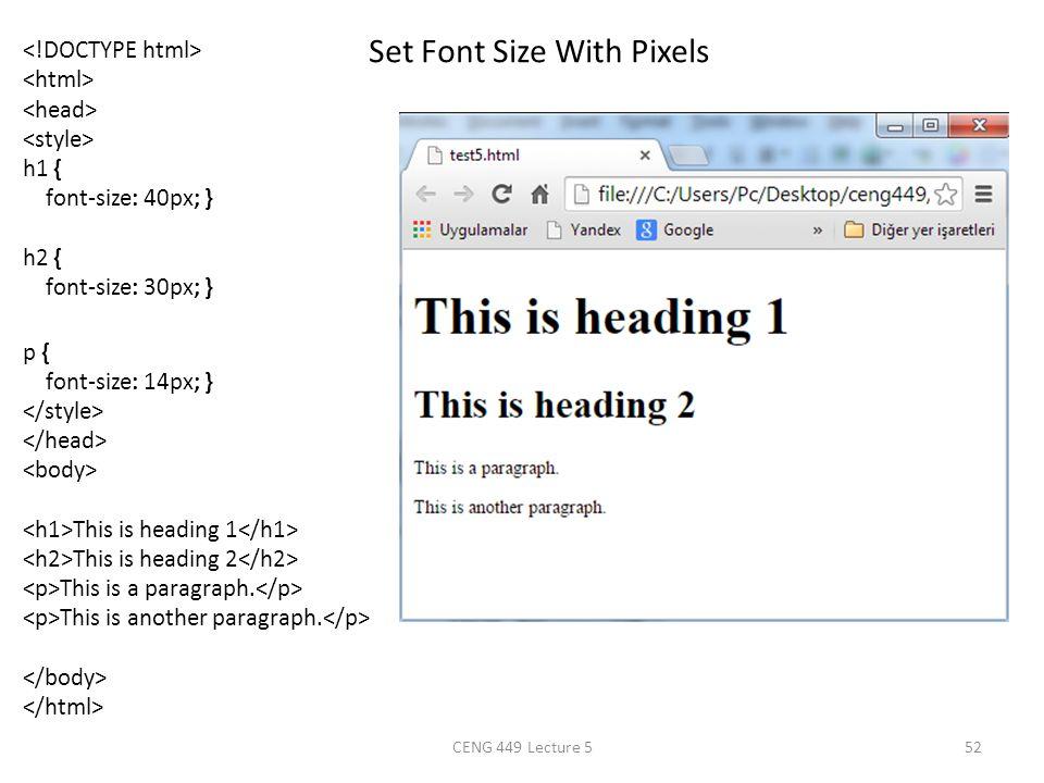 Set Font Size With Pixels