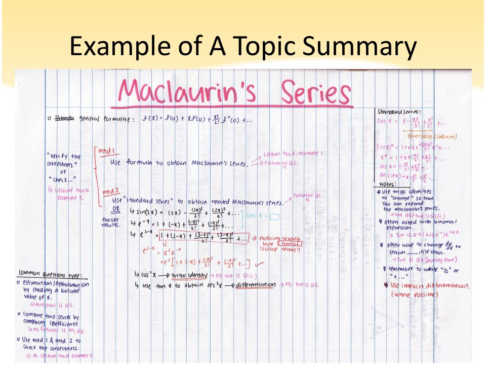 Example of A Topic Summary