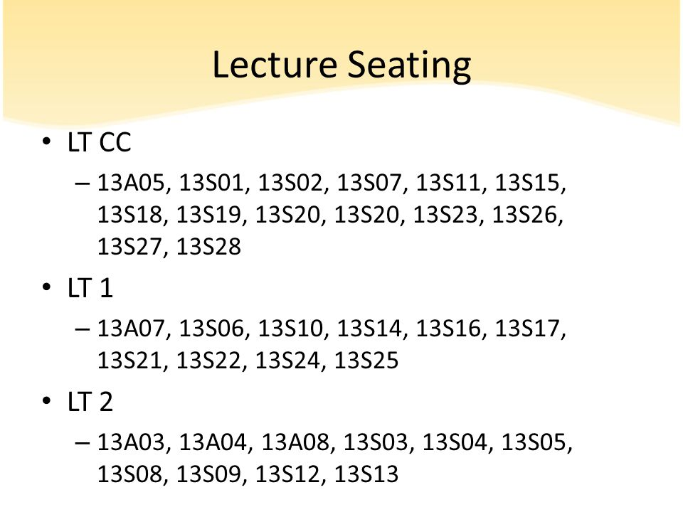 Lecture Seating LT CC LT 1 LT 2