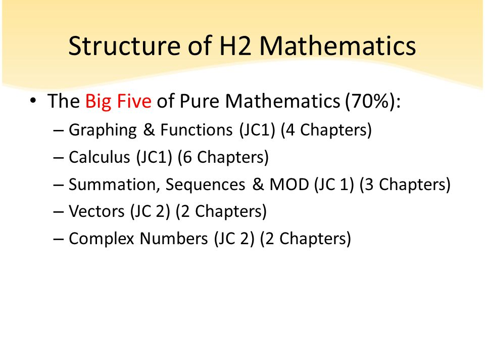 Structure of H2 Mathematics