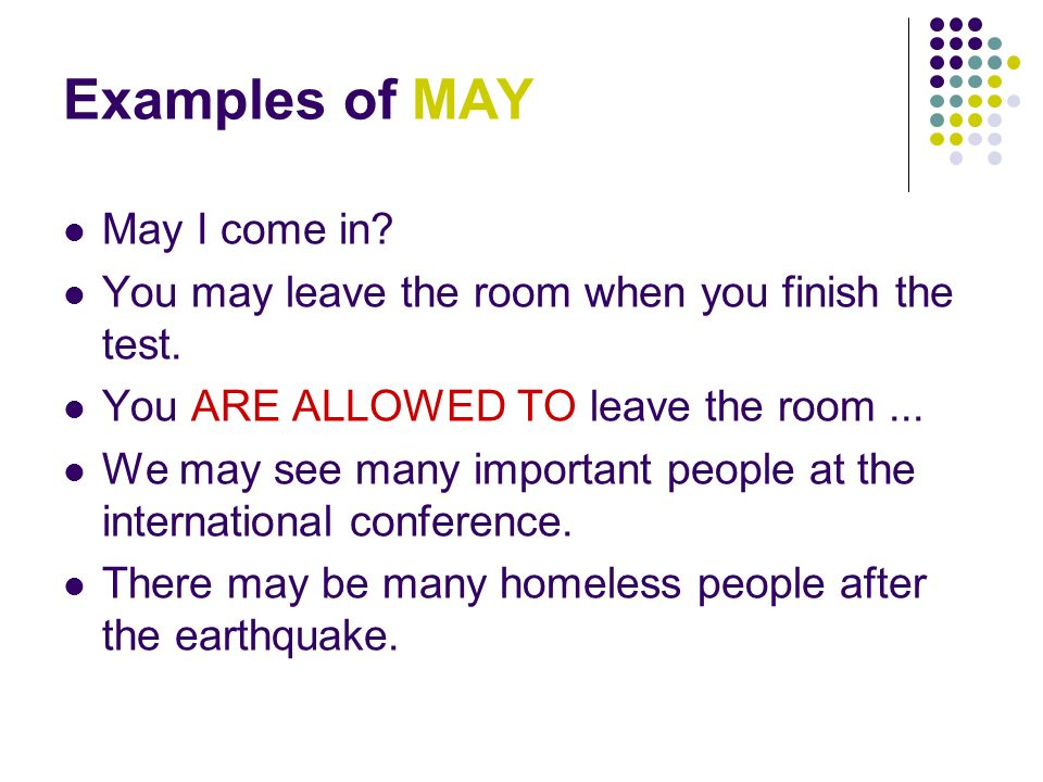 Examples of MAY May I come in