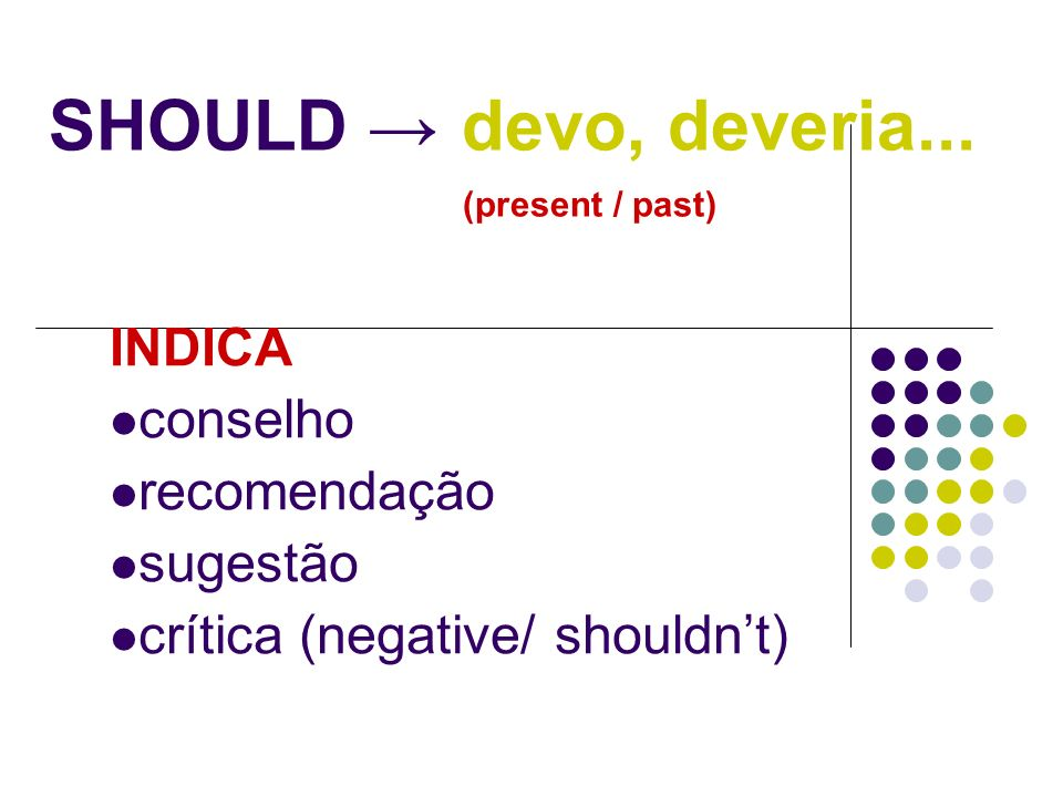 SHOULD → devo, deveria... (present / past)