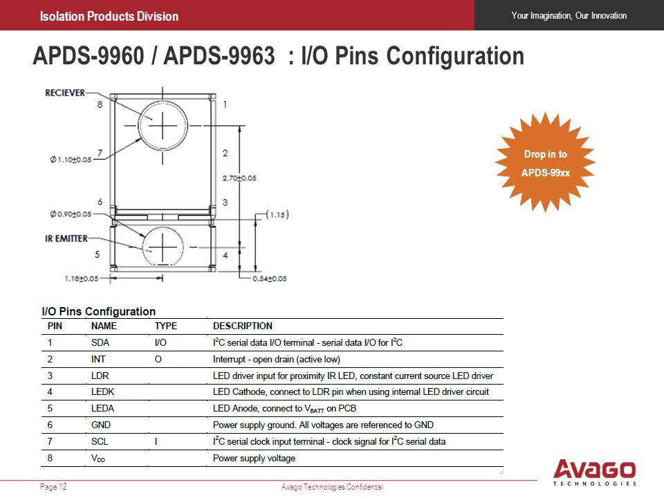 APDS-9960 / APDS-9963 : I/O Pins Configuration