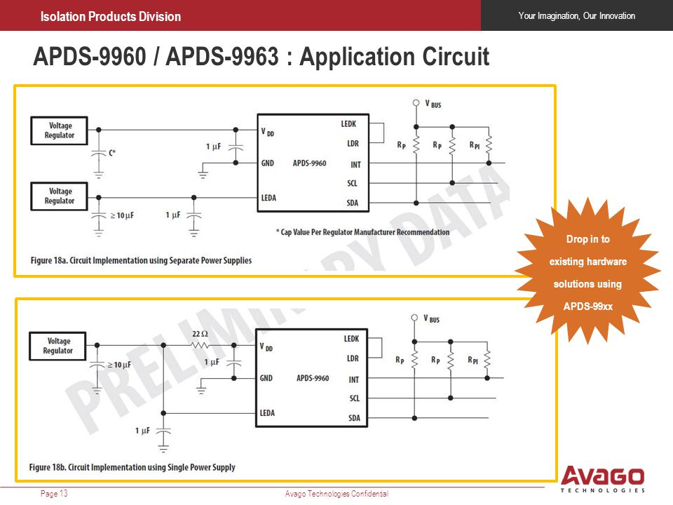 Drop in to existing hardware solutions using APDS-99xx