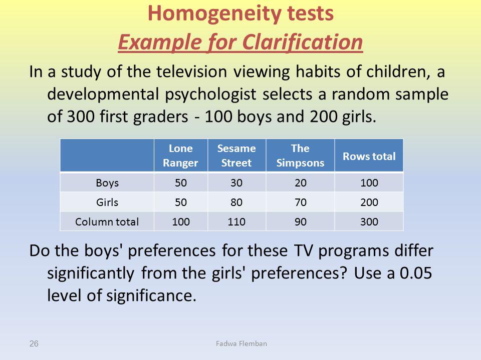 Homogeneity tests Example for Clarification
