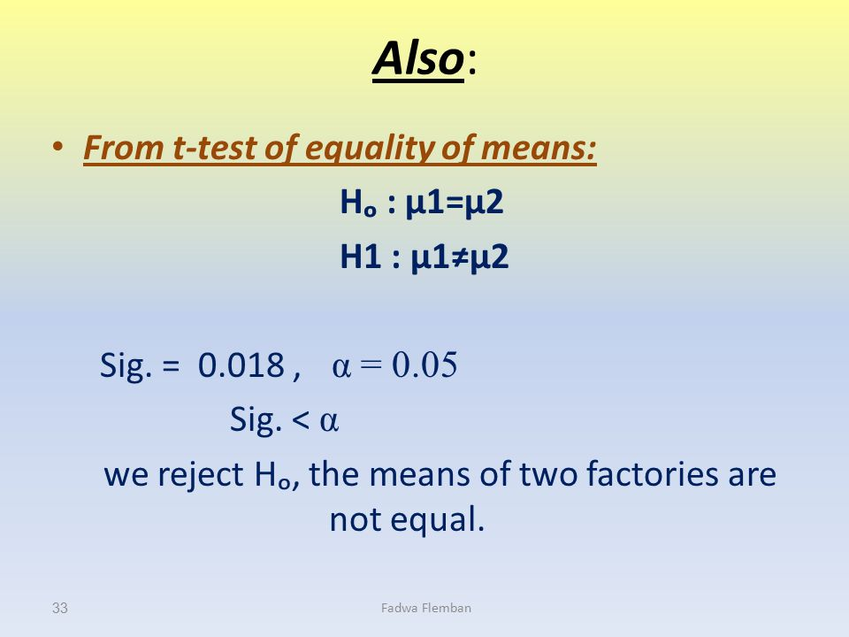 we reject Hₒ, the means of two factories are not equal.