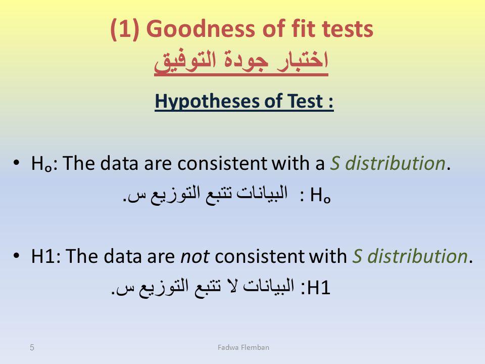 (1) Goodness of fit tests اختبار جودة التوفيق