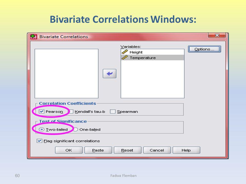 Bivariate Correlations Windows: