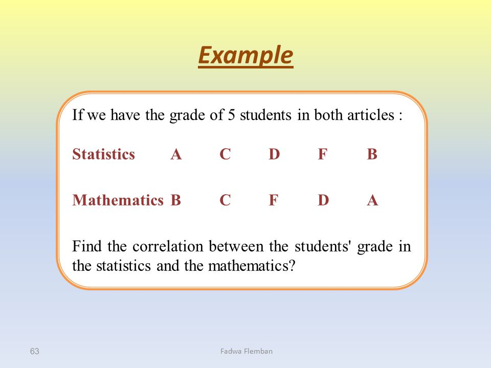Example If we have the grade of 5 students in both articles :
