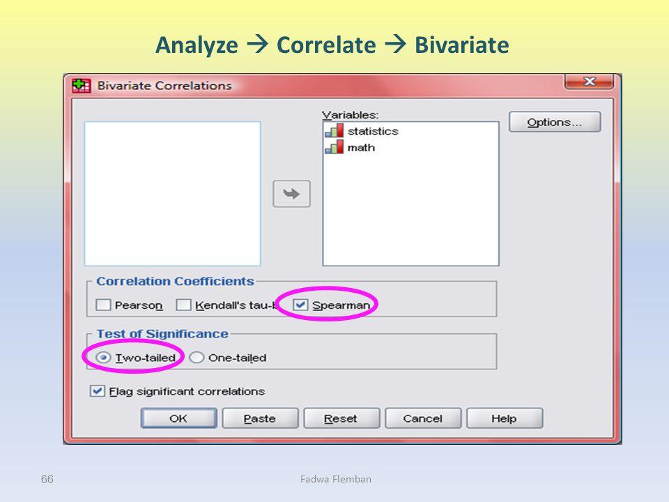 Analyze  Correlate  Bivariate