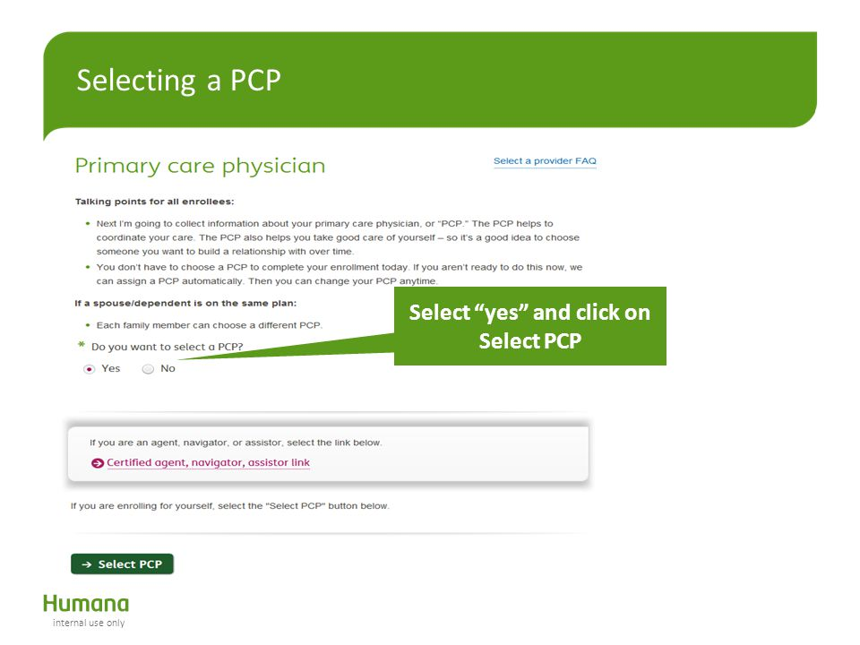 Select yes and click on Select PCP