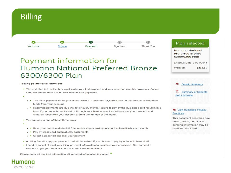 Billing Top portion of payment page internal use only
