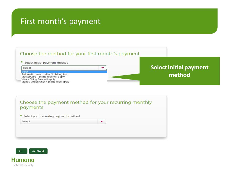 Select initial payment method