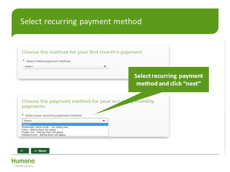 Select recurring payment method