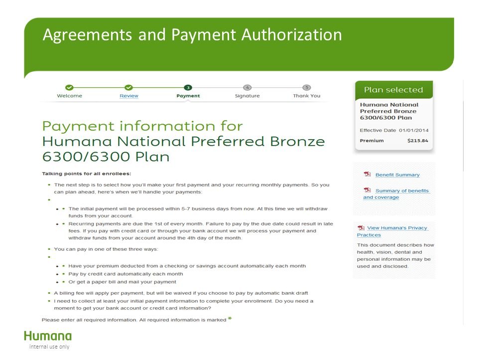 Agreements and Payment Authorization