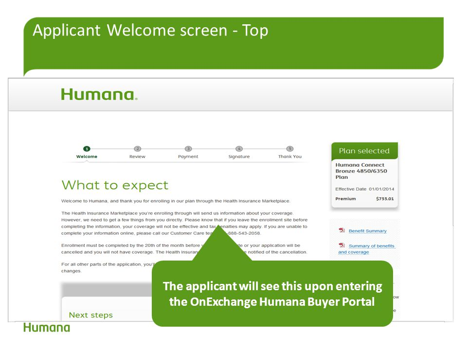 Applicant Welcome screen - Top