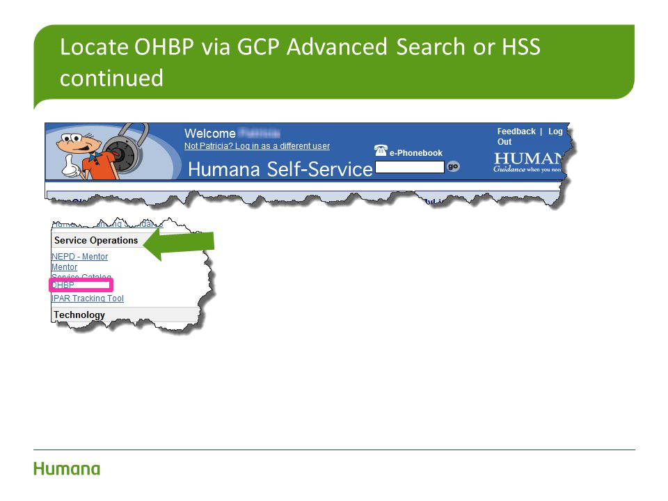 Locate OHBP via GCP Advanced Search or HSS continued