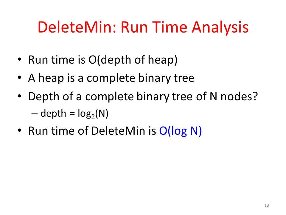 DeleteMin: Run Time Analysis