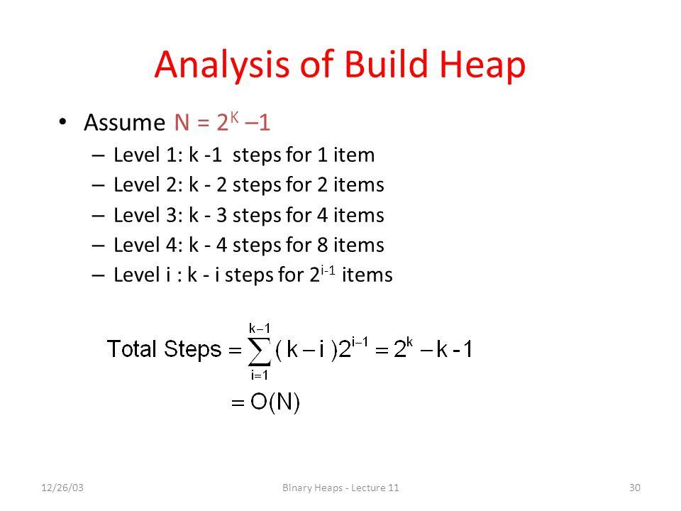 Analysis of Build Heap Assume N = 2K –1 Level 1: k -1 steps for 1 item