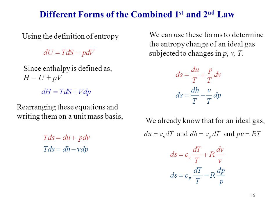 Different Forms of the Combined 1st and 2nd Law