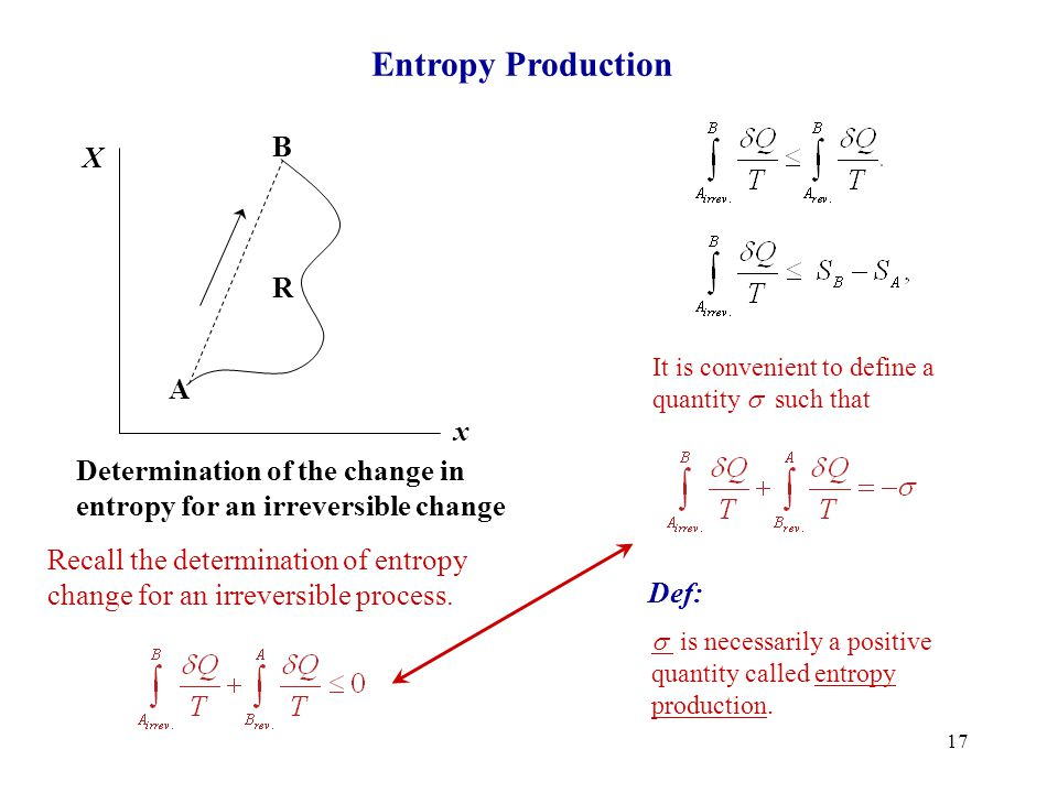 Entropy Production B X R A x Determination of the change in
