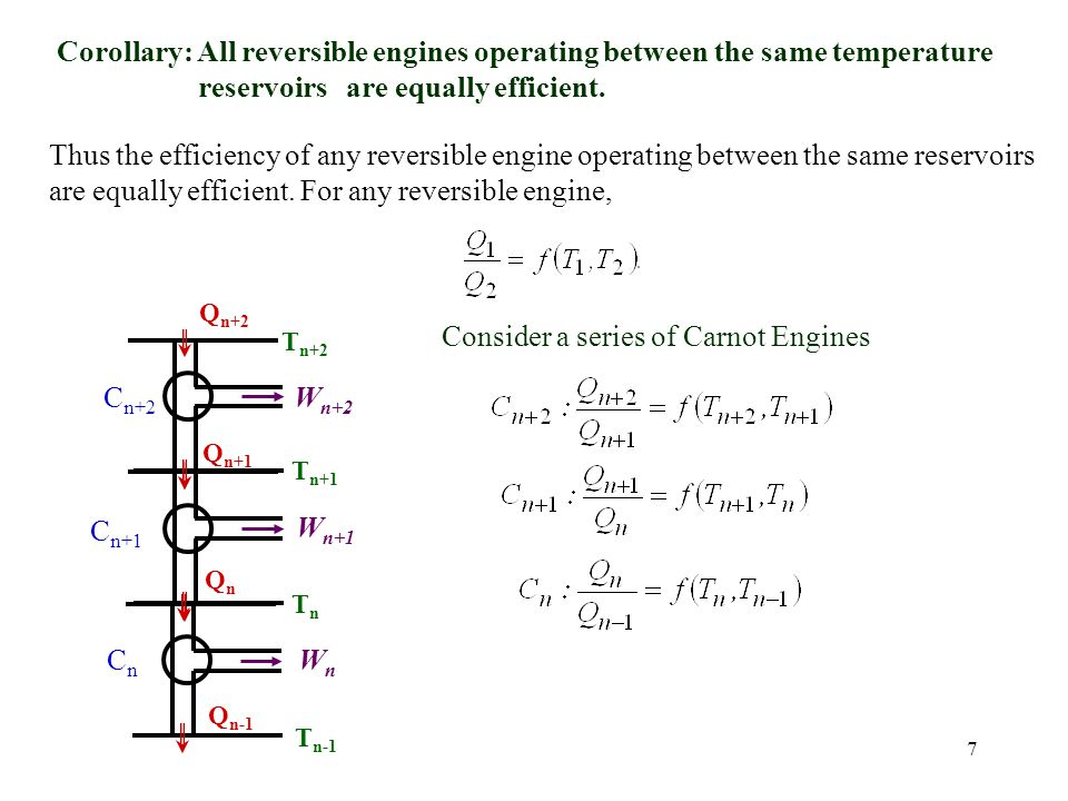 are equally efficient. For any reversible engine,