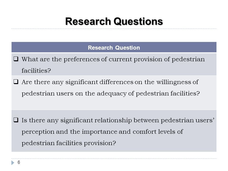 Research Questions Research Question. What are the preferences of current provision of pedestrian facilities