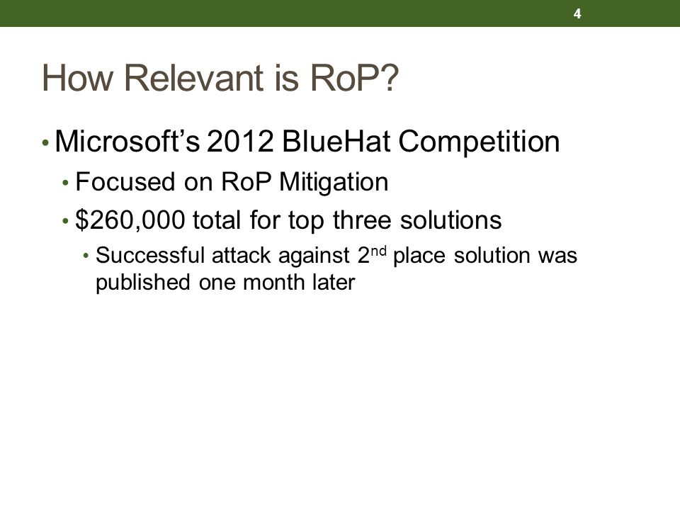 How Relevant is RoP Microsoft's 2012 BlueHat Competition