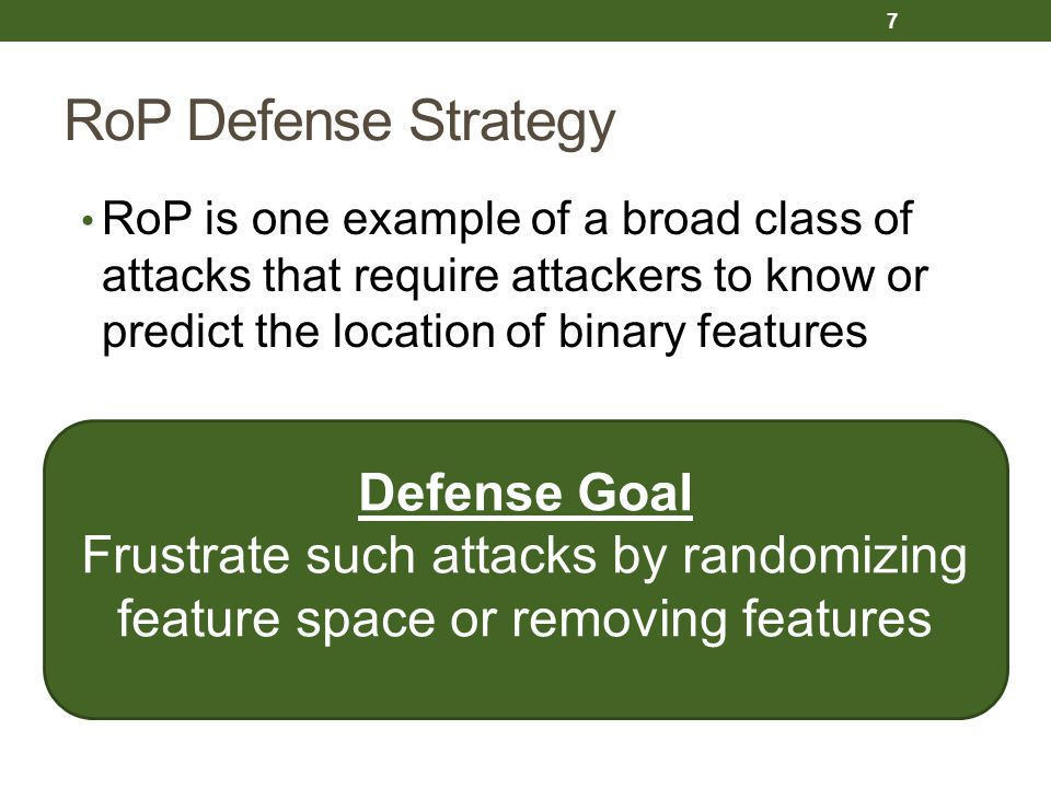 RoP Defense Strategy Defense Goal