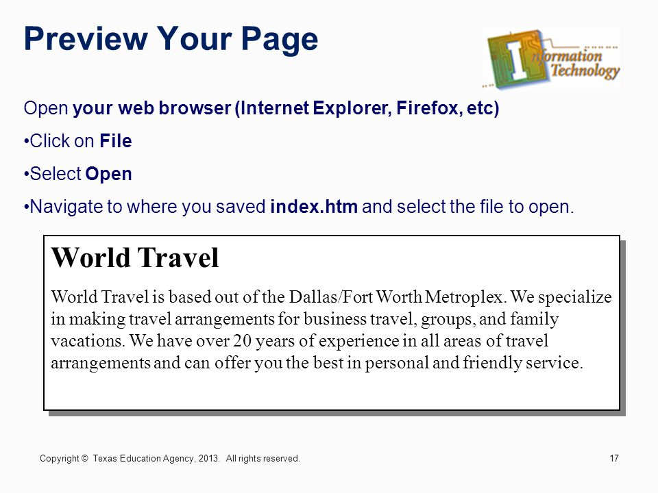 Preview Your Page World Travel