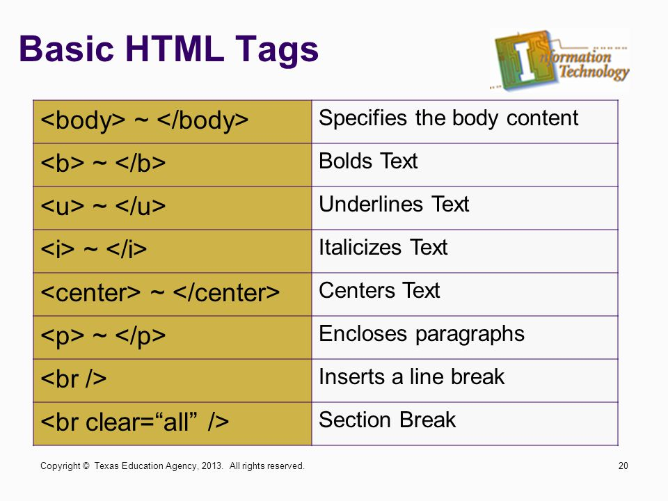 Basic HTML Tags <body> ~ </body> <b> ~ </b>