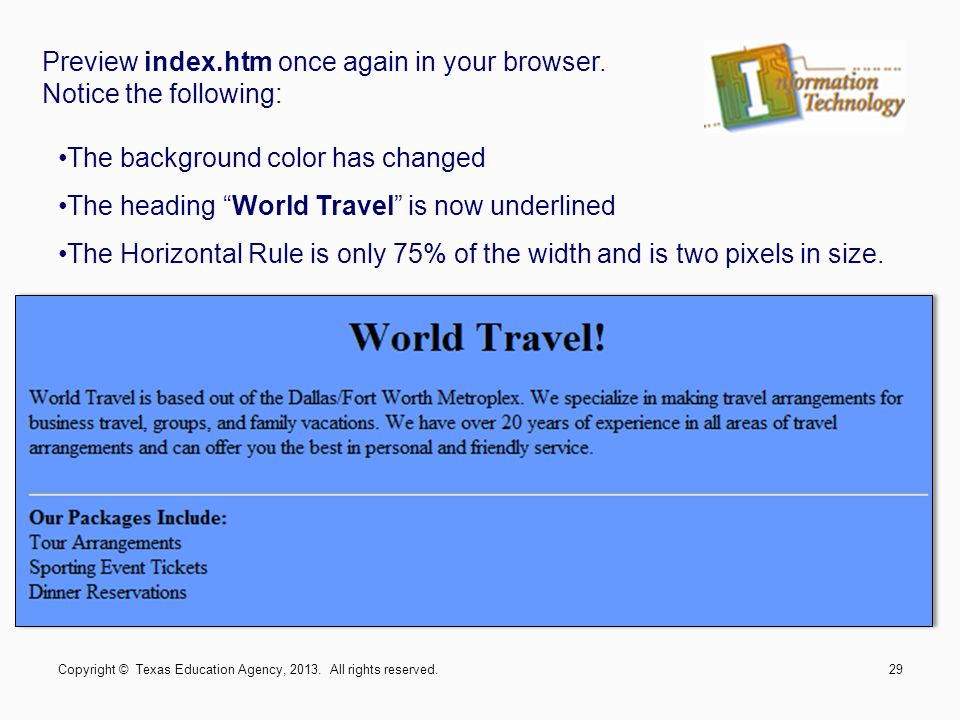 Preview index.htm once again in your browser. Notice the following: