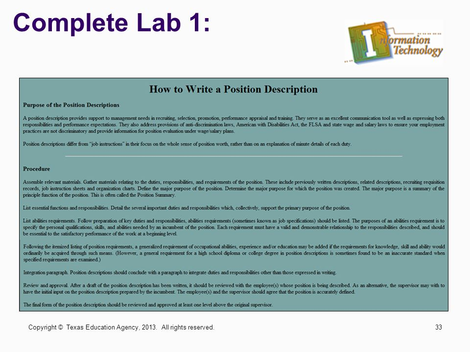 Complete Lab 1: Copyright © Texas Education Agency, 2013. All rights reserved.
