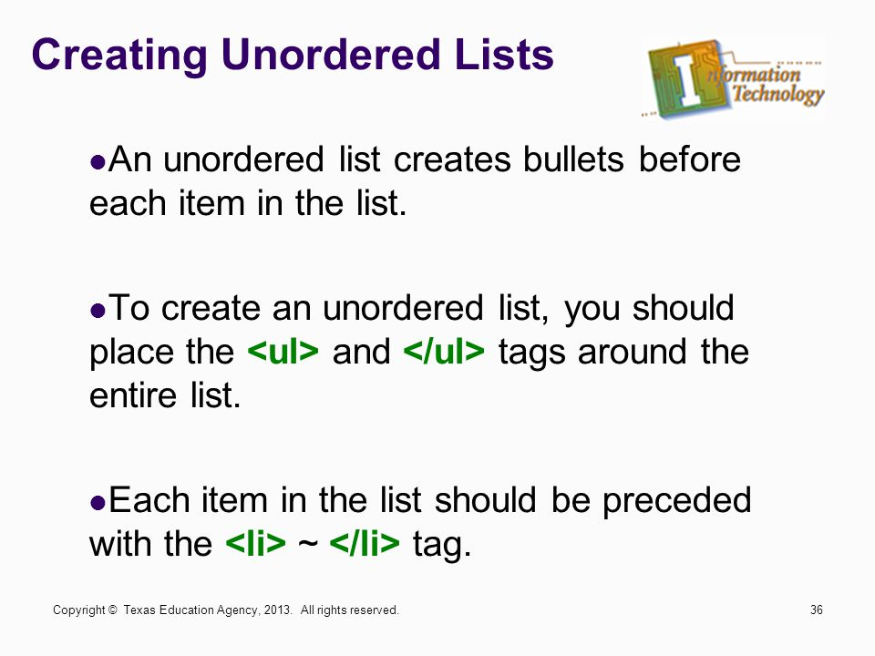 Creating Unordered Lists