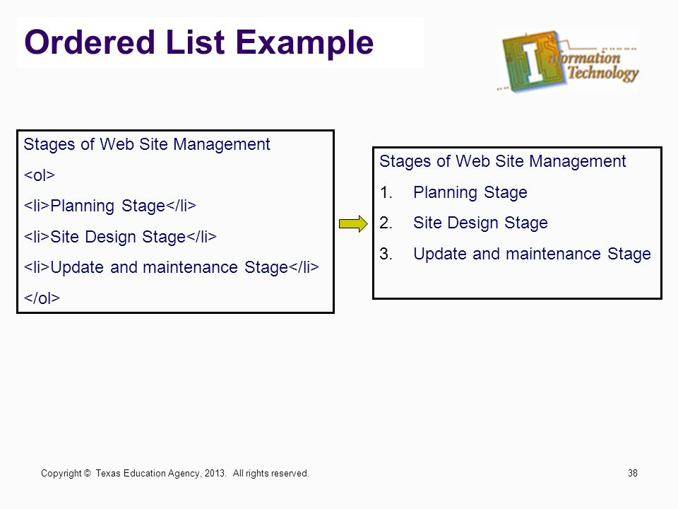Ordered List Example Stages of Web Site Management <ol>