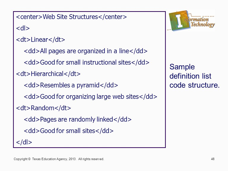 Sample definition list code structure.