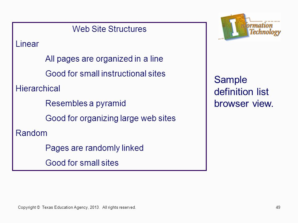 Sample definition list browser view.