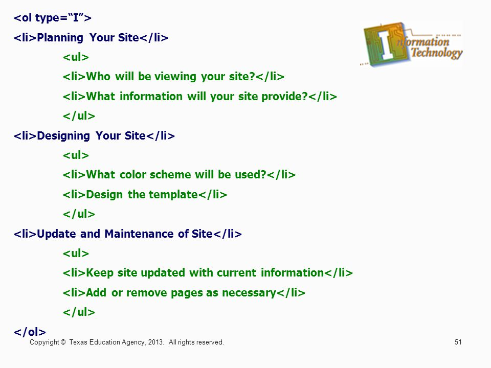 <li>Planning Your Site</li> <ul>
