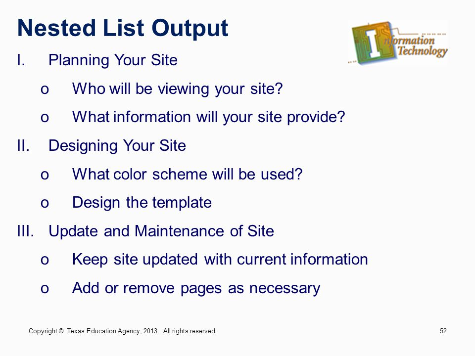 Nested List Output Planning Your Site Who will be viewing your site